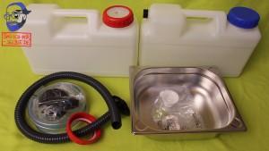 Waschbeckenmodul Material Raumsparkanister Schlauch Abfluss