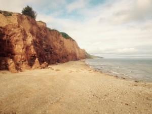 VW T5 California Sidmouth Südengland Roadtrip Strand rote Klippen Camping Südküste Ärmelkanal