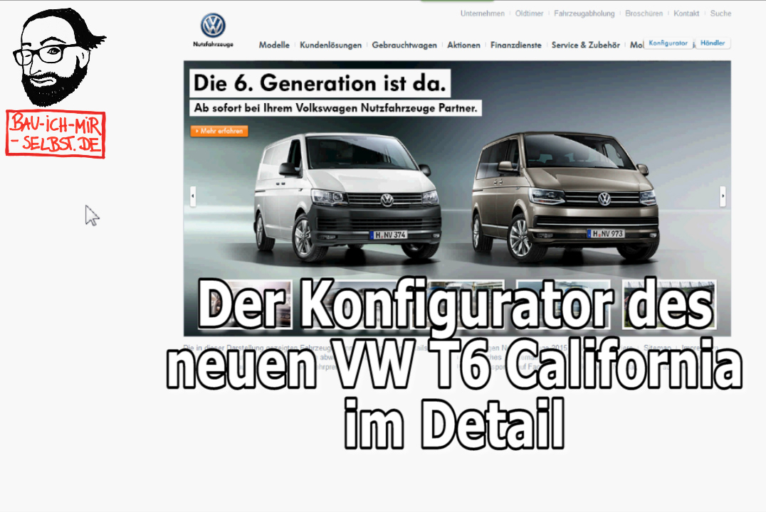 Der neue VW T6 California - der Konfigurator im Detail