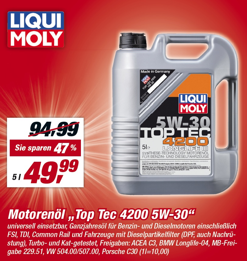 motor l liqui moly top tec 4200 5w 30 angebot 5 liter. Black Bedroom Furniture Sets. Home Design Ideas