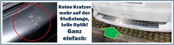 VW T5 Ladekantenschutz Edelstahl Stoßstange Einkauf Laden Kofferaum