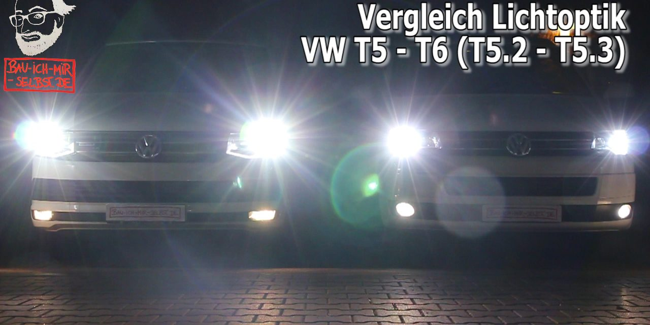 video lichtvergleich vw t6 mit led t5 2 mit xenon. Black Bedroom Furniture Sets. Home Design Ideas