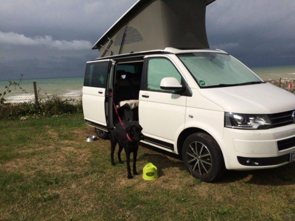 Frankreich Normandie Bretagne Steilküste Meer Roadtrip T5 VW Camping Familie Baby Kind Hund