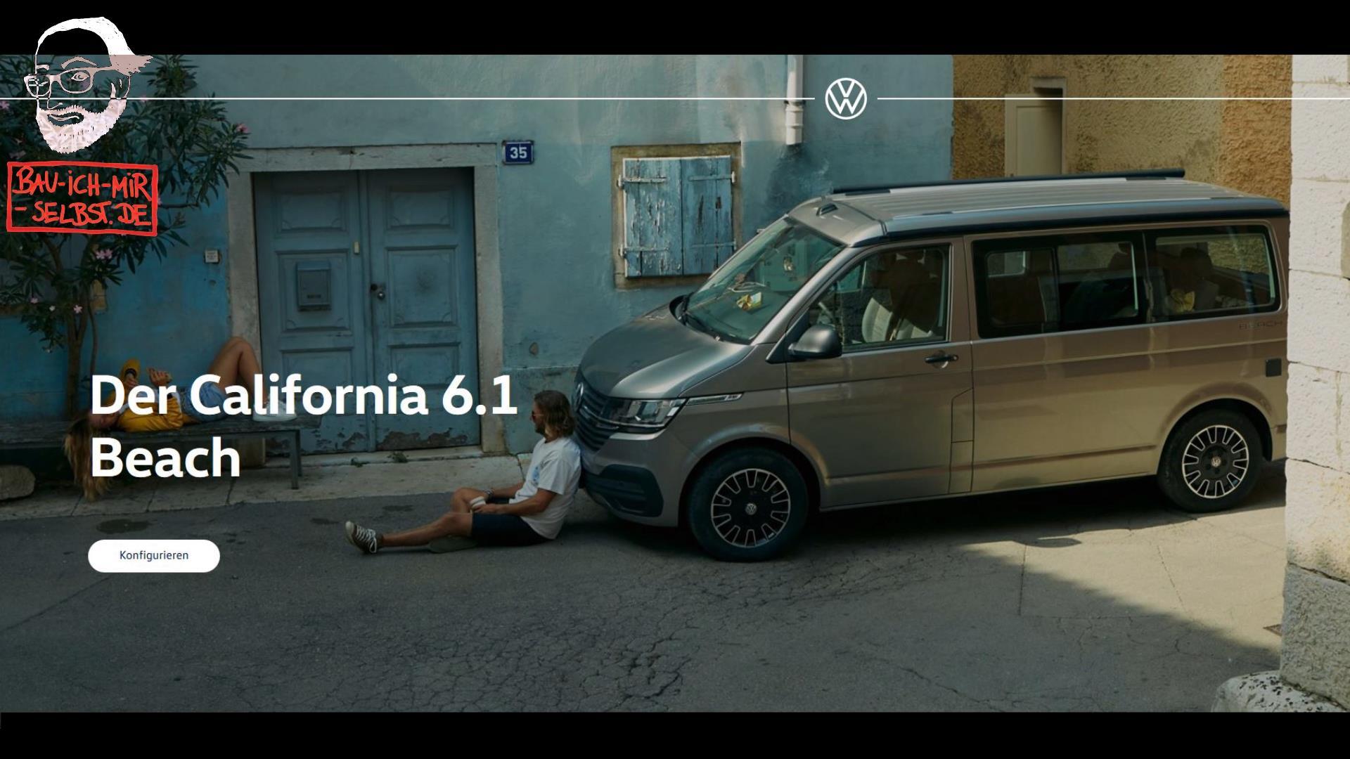 VW T6.1 Konfigurator vom neuen VW Bus - California Beach, der Campervan - Videoreihe aus vier Videos