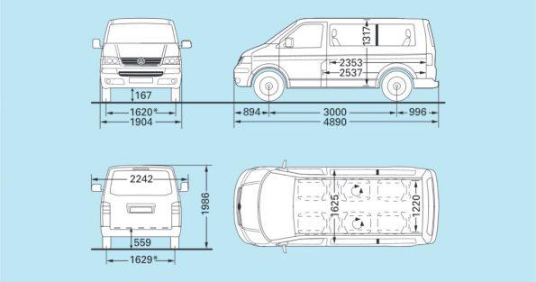 VW Volkswagen Bus Multivan Maße Innen Außen mm cm Länge Breite Höhe Radstand Van Camper Ausbau T5.1 kurz