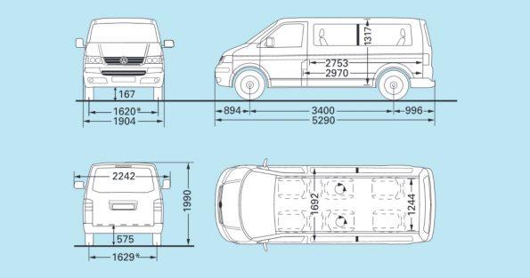 VW Volkswagen Bus Multivan Maße Innen Außen mm cm Länge Breite Höhe Radstand Van Camper Ausbau T5.1 lang