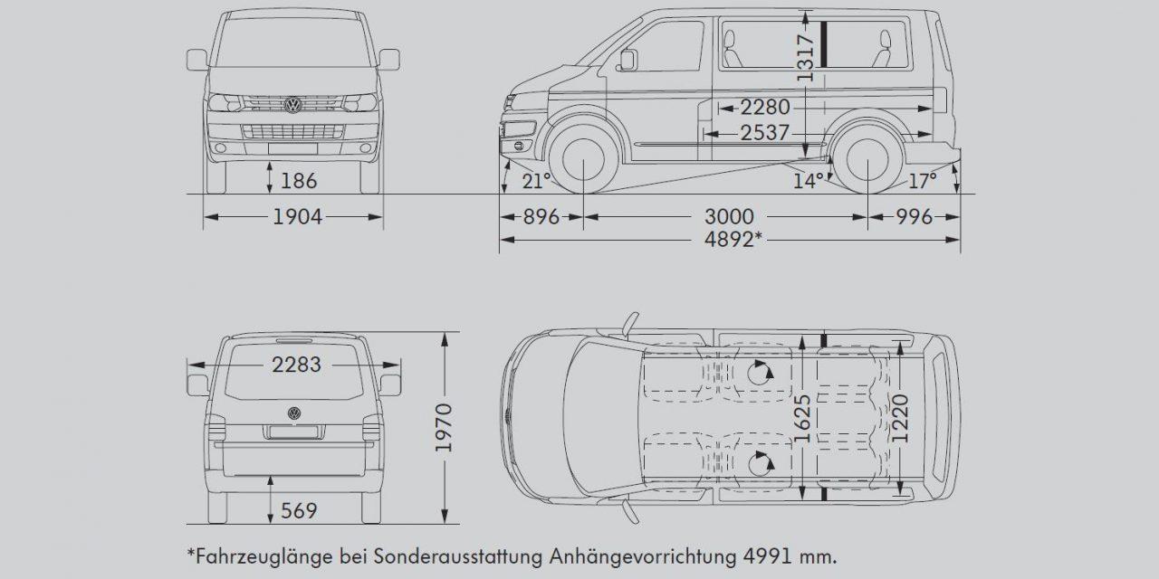 VW T5 Maße 2010-2015 (T5.2)