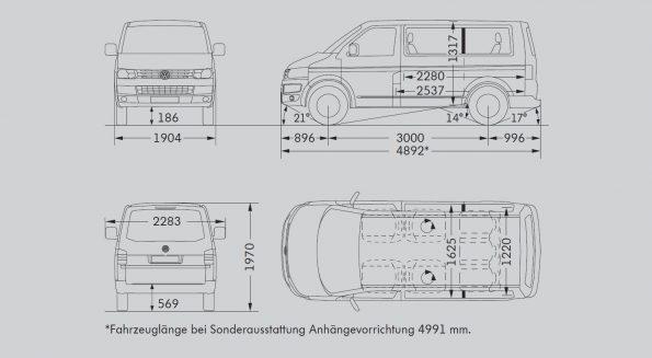 VW Volkswagen Bus Multivan Maße Innen Außen mm cm Länge Breite Höhe Radstand Van Camper Ausbau T5.2 kurz