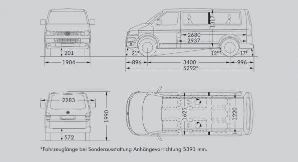 VW Volkswagen Bus Multivan Maße Innen Außen mm cm Länge Breite Höhe Radstand Van Camper Ausbau T5.2 lang