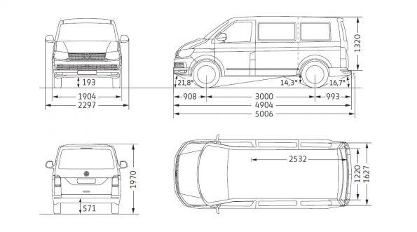 VW Volkswagen Bus Multivan Maße Innen Außen mm cm Länge Breite Höhe Radstand Van Camper Ausbau T6 kurz