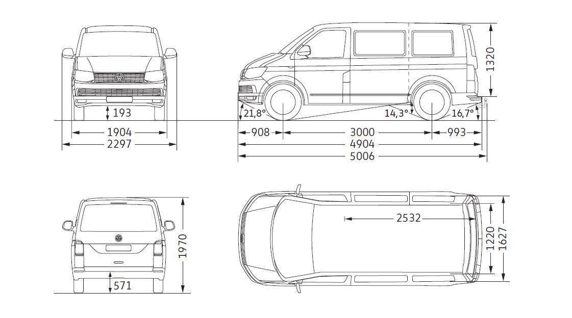 VW T6 Maße 2015-202019 (T5.3?!)