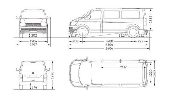 VW Volkswagen Bus Multivan Maße Innen Außen mm cm Länge Breite Höhe Radstand Van Camper Ausbau T6 lang