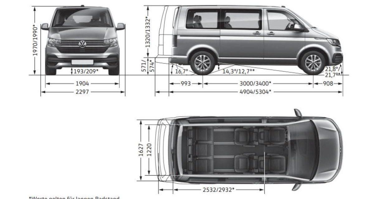 VW T6.1 Maße 2019-